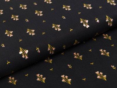 Webware Viskose Radiance mit Foliendruck - Rosella by Penelope - kleine Blüten - schwarz