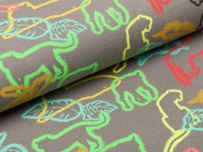 Jersey mit Neonprint - verschiedene Tiere im Wald - grau