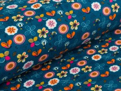 Blumen Jersey blau Schmetterlinge