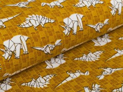 Angerauter Sweat Softtouch - Dinos auf Muster - ocker