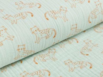 Musselin Baumwolle Double Gauze - kleine Panther - helles mint