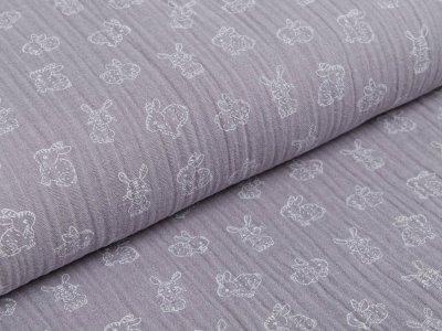 Musselin Baumwolle Double Gauze - niedliche Häschen - grau