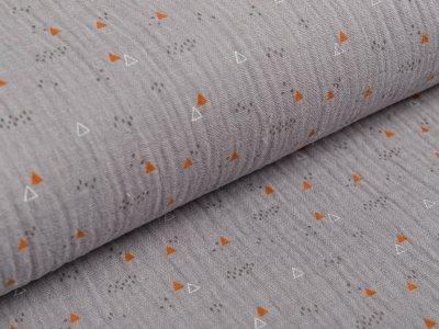 Musselin Baumwolle Double Gauze - Triangeln - grau