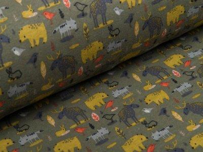 Alpenfleece - verschiedene Waldtiere - khaki