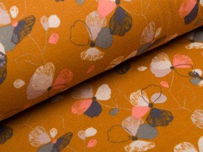 Alpenfleece - Blumen - ocker