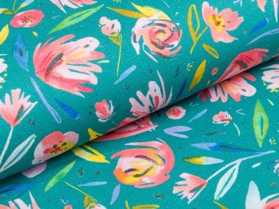 Sweat French Terry - Chrysanthemen - altmint