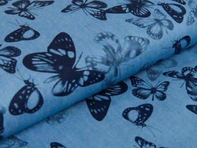 Leichter Jeansstoff - Schmetterlinge - helles jeansblau