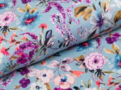 Jersey-Viskose  Digitaldruck - Blumenmeer - altblau