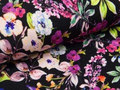 Jersey-Viskose  Digitaldruck - Blumenmeer - schwarz