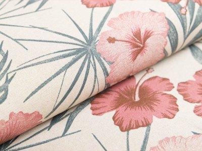 Canvas Leinenlook Tropical - Blätter und Blüten - mauve