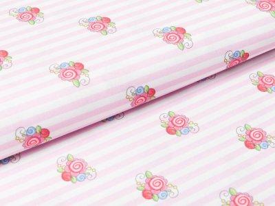 Webware Swafing Prinzessin Anneli by Steinbeck - kleine romantische Blumen auf Streifen - weiß/rosa