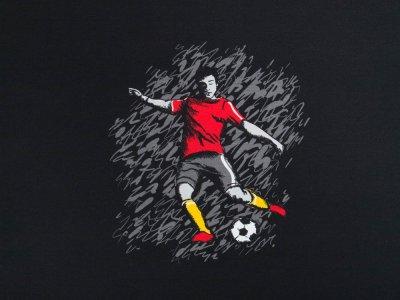 """Jersey Swafing Steinbeck """"Fußball""""  PANEL ca. 65 x 82 cm - grau/ schwarz"""