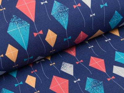 Softshell Jackenstoff Swafing Fiete - Winddrachen - dunkles blau