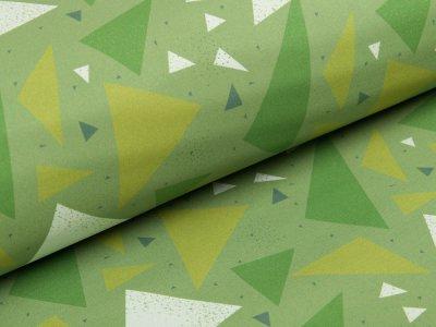 Softshell Jackenstoff Swafing Fiete - geometrische Muster - grün