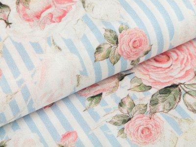 Webware Viskose Swafing Genf - romantische Rosen auf Streifen - wollweiß/blau