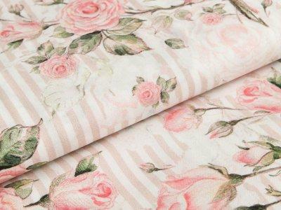 Webware Viskose Swafing Genf - romantische Rosen auf Streifen - wollweiß/puderrosa