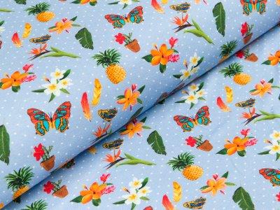 """Jersey  """"Flora"""" - verschiedene Motive und Pünktchen - helles blau"""