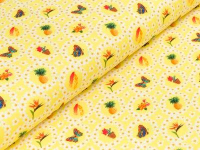 """Jersey  """"Donna"""" - verschiedene Motive im Blumenkranz - gelb"""