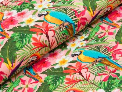 """Jersey  """"Jenna"""" - Papageien und tropische Blumen - rosa"""