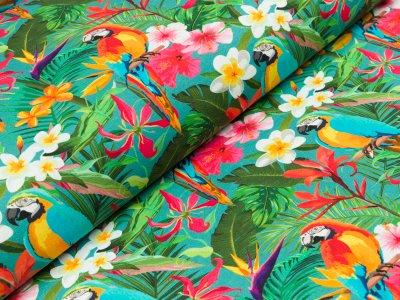 """Jersey  """"Jenna"""" - Papageien und tropische Blumen - dunkles mint"""