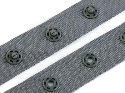 Druckknopfband Breite 18 mm - grau