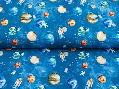 Sweat French Terry Digitaldruck by Poppy - Planeten und Raketen - jeansblau
