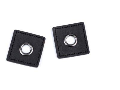 Aufnäh-Ösen auf Kunstleder 8mm 4 Stück - uni anthrazit/dunkles Nickel