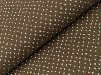 Baumwoll Musselin Double Gauze - kleine Blüten und Pünktchen - khakigrün