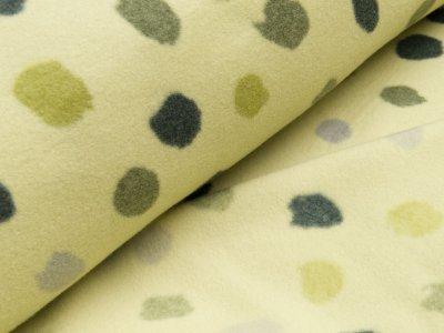 Baumwoll Fleece - große unregelmäßige Punkte - helles grün