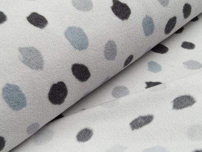 Baumwoll Fleece - große unregelmäßige Punkte - helles grau