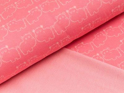 Jacquard-Jersey - Nilpferde - pink
