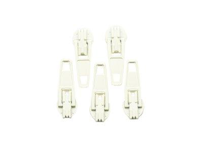 Slider / Zipper / Automatikschieber für Reißverschlüsse Größe 3 - Set 5 Stück blassgelb