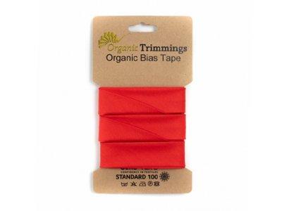 Popeline Organic Cotton Schrägband/Einfassband gefalzt 20 mm Breit x 5 Meter Coupon - uni rot
