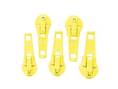 Slider/Zipper/Automatikschieber für Reißverschlüsse Größe 5 - Set 5 Stück - gelb