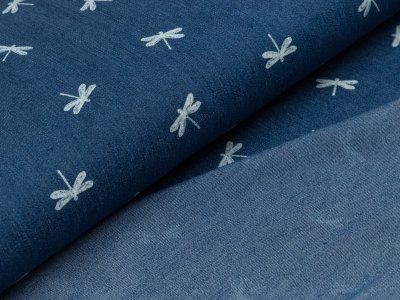 Leichter Jeansstoff - Libellen - jeansblau
