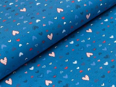 Jersey - gemusterte Herzen- blau