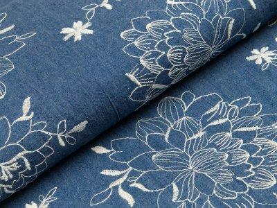 Leichter Jeansstoff mit Stickerei - Blumen - jeansblau