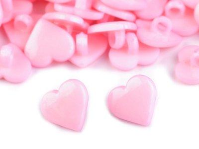 Kinderknopf mit Öse 6 Stück/15 mm - Herz - rosa