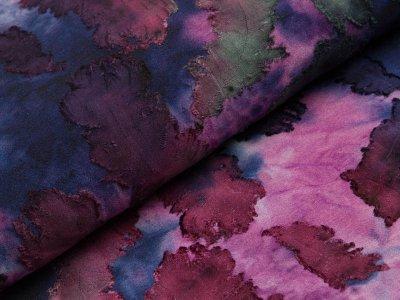 Jersey mit Ausbrenner - Federn auf Batik - blau/rosa/rot