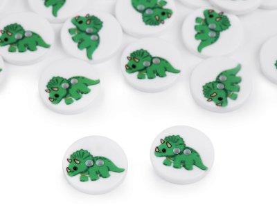 Kinderknöpfe 20 Stück/15,4 mm - Dinosaurier - weiß/grün