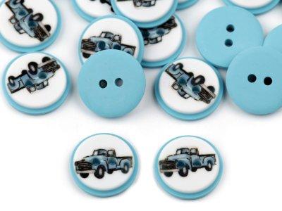 Kinderknöpfe 20 Stück/15,4 mm - Auto - hellblau