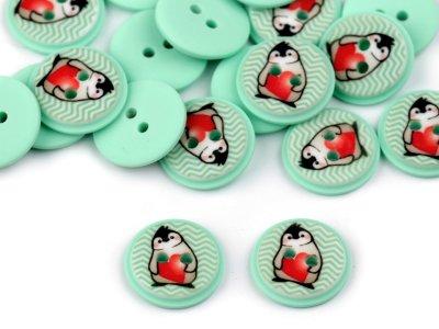 Kinderknöpfe 20 Stück/15,4 mm - Pinguin - mint