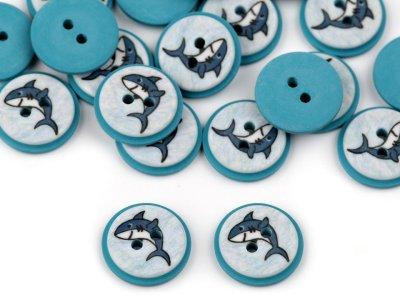 Kinderknöpfe 20 Stück/15,4 mm - Hai - blau