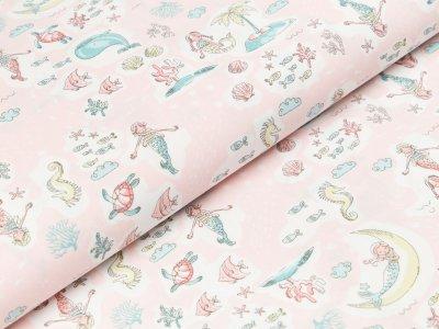 Popeline Hilco Delmara - kleine Meerjungfrauen und Meerestiere - helles rosa