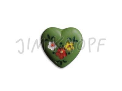 Jim-Knopf Glas-Knopf Herz 14mm grün
