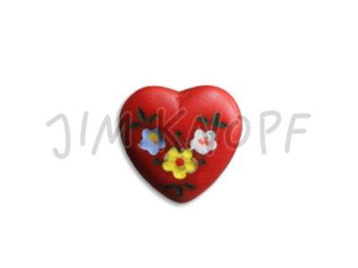 Jim-Knopf Glas-Knopf Herz 14mm rot
