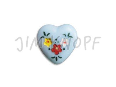 Jim-Knopf Glas-Knopf Herz 14mm hellblau