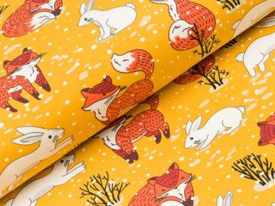 Jersey - Füchse und Hasen im Schnee - gelb