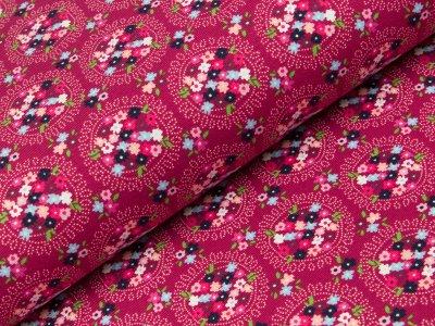 Jersey - Blumenmedallions - fuchsia