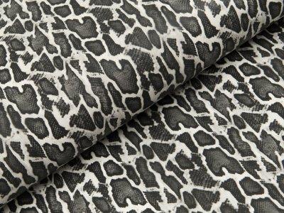 Elastisches Kunstleder bedruckt - Animalprint Schlangenmuster - wollweiß/grau